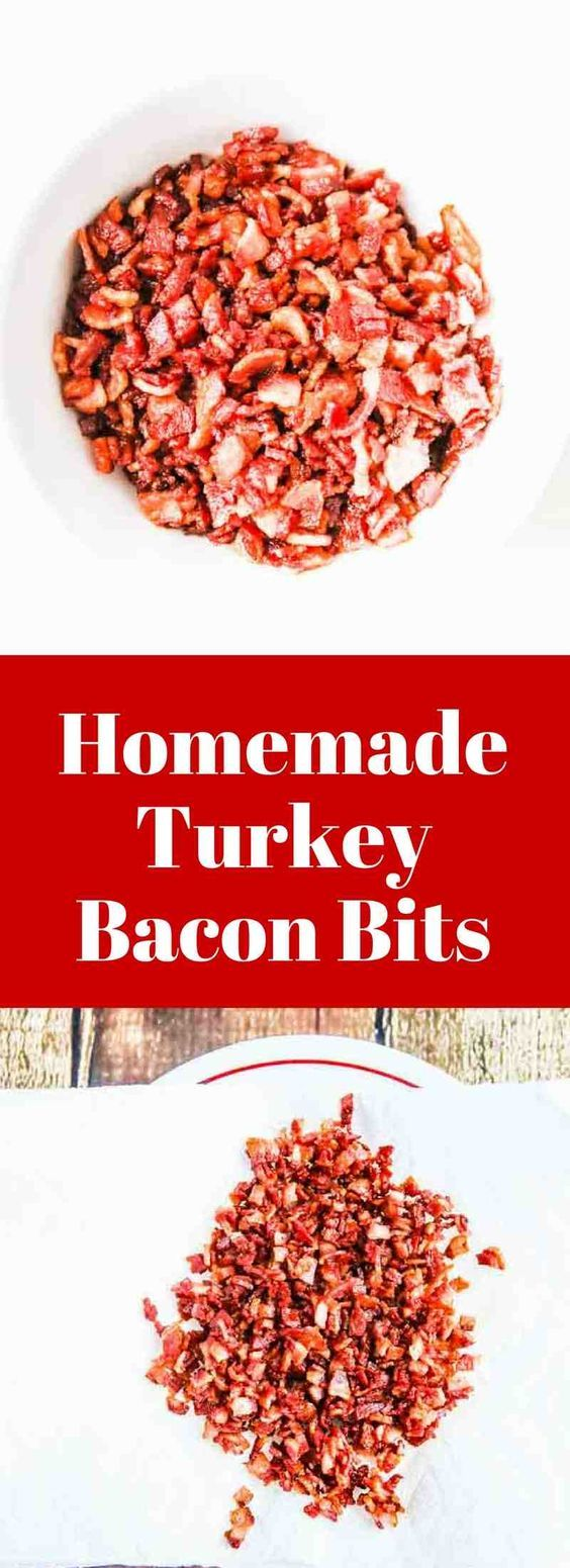 Homemade Turkey Bacon Bits - so easy to make and healthier than regular bacon bits | jeanetteshealthyliving.com