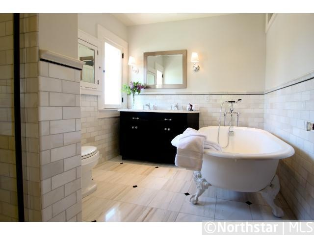 Nicole Curtis Rehab Addict   Minnehaha House Master Bathroom   Claw Foot  Tub   Subway Tile And Tile Shop Tile