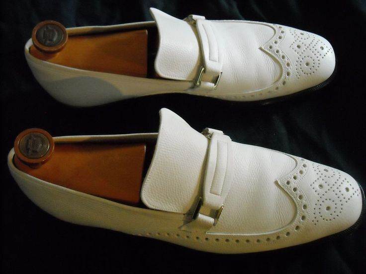 Florsheim Mens White Dress Shoes Leather Loafers sz 9A With Wooden Shoe Trees  #Florsheim #LoafersSlipOns