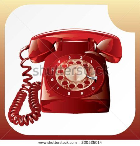 Illustration of an old red analogue telephone - stock vector  #shutterstock #vector #graphic #illustration #telephone #analogue