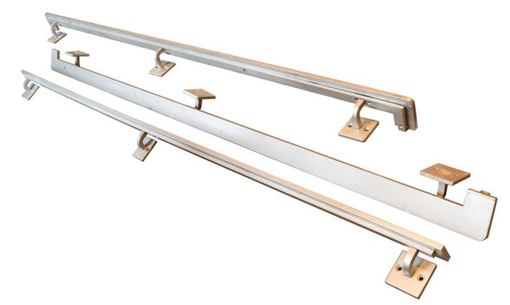 "AA# 47020  Brushed aluminum handrails from the late 50's pure mid-century modern that  fit today. Each is 108"" long and 3"" wide top rail.  Two styles:  Straight with a 4"" projection from the wall  Return to wall have a 5"" projection            Circa: 1950's     Cond"