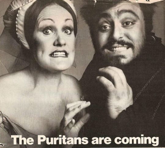 Luciano Pavarotti and Joan Sutherland promoting their legendary I Puritani, at the Metropolitan Opera, 1976.  OperaQueen
