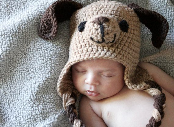 Crochet Puppy Hat Newborn Puppy Hat Newborn by DeesCozyCreations