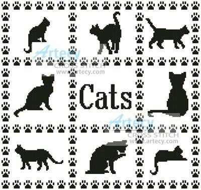 Just Cross Stitch Patterns Free   Cat Sampler Cross Stitch Pattern cats