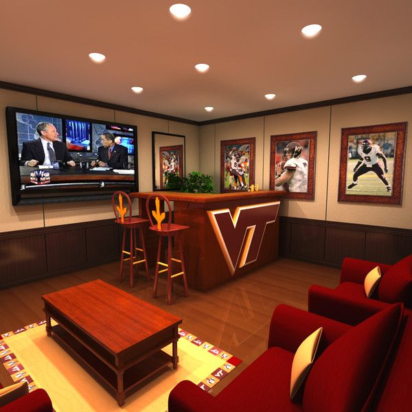 3ds max virginia hokie man cave - Virginia Tech Man Cave (bar and home theater)... by StudioThought