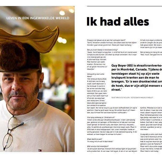 Une entrevue de @brechtjekeulen avec notre camelot Guy, dans le Z! De Amsterdamse straatkrant . @insp_agram #streetpaper #vendor #camelot #journalderue #amsterdam #montreal #litineraire #christmashat #moosehat #chapeau