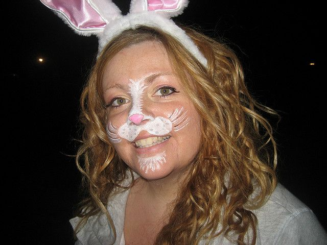Simple Bunny Rabbit Snout Face Painting, via Flickr.