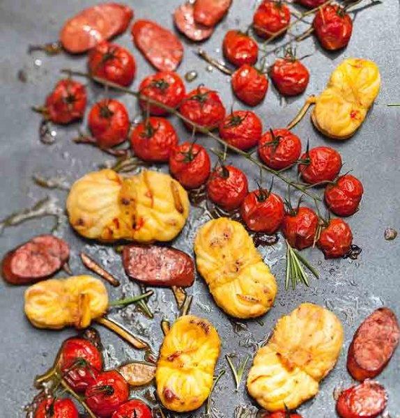 Lotte, chorizo et tomates cerises à la plancha
