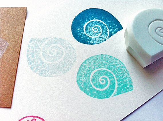 sea shell rubber stamp. hand carved rubber stamp. by talktothesun