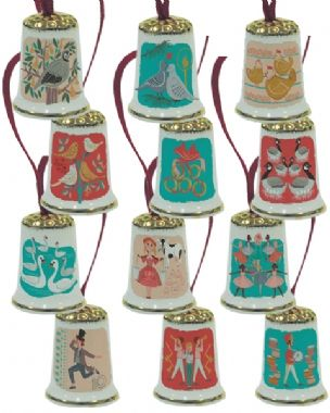 12 Days Of Christmas Tree Decoration Thimbles - Full Set of 12
