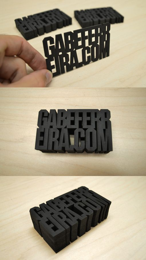 Experimental and conceptual laser cut business cards designed with custom typography with the goal of combining the medium and the content of the card into one single single. Nothing is printed, only cut