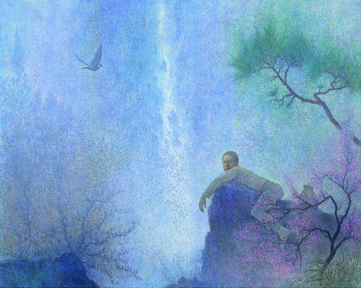 //// 박항률 <낮 꿈> -2010년 제작 //// 한국적인 몽환의 느낌이 나는 작품이다. 낮 꿈이라는 제목답게 한가로운 오후에 나무와 꽃, 그리고 새 사이에서 잠든 소년이 보인다. 어쩌면 그 사이에서 잠든 것이 아니라 소년이 꾸는 꿈이 표현되어 있는 것인지도 모른다. 어찌되었든 이 그림은 그 자체로 '낮 꿈' 을 충분히 느낄 수 있게 해준다. 꿈속인지 현실인지 분간이 잘 안가는 듯한 몽환적 색채와 분위기 덕분이다. 보통 동양에서 꿈은 현실의 연장선이자 현실의 반영이다. 많은 설화에서 꿈은 현실에 영향을 미치는 중요한 요소이다. 장자는 나비 꿈을 꾸고나서는 장주가 나비인지 나비가 장주인지, 하는 말을 남기기도 했다. 꿈을 무의식의 세계로 생각하는 서양과 어느 정도 일맥상통하는 부분은 있지만 동양에서의 꿈은 좀 더 물아일체적 성격이 강하다. 꿈은 나의 일부분이요 나 또한 꿈의 일부분이니 그것이 갖는 창조력은 말할 필요가 없을 것이다.