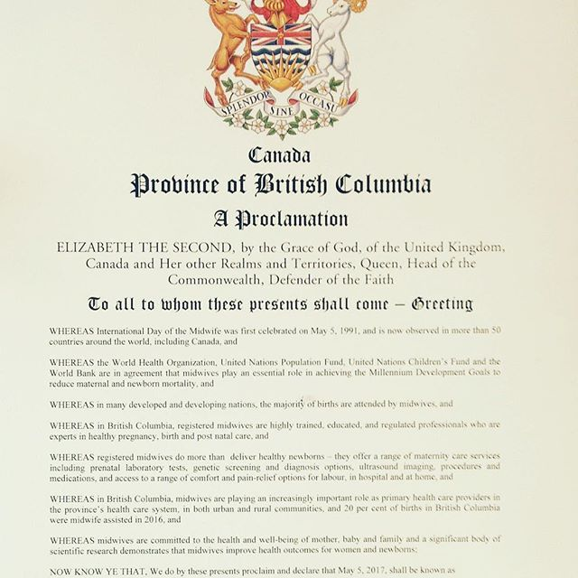 Great to receive proclamation from the Government of BC recognizing May 5th as #BCMidwivesDay #IDM2017 @bcgovnews #bcpoli