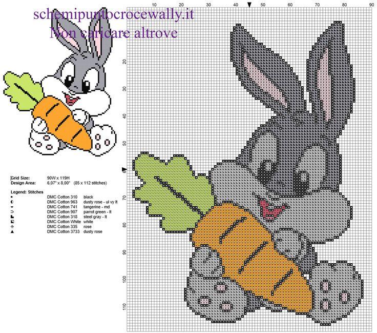 Baby Bugs Bunny con carota personaggio Looney Tunes schema punto croce gratis