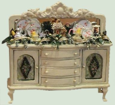 Hand Painted Shabby Chic Style Dollhouse Miniature Furniture And  Accessories.