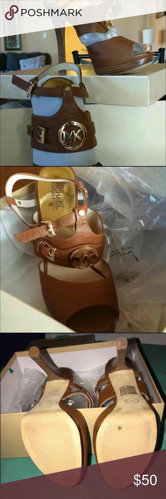 Michael Kors heels Michael Kors brown straps heels  Tags/ mk, Michael kors , pumps , heels ,zumiez,couch ,lv , tan   8.5 size Michael Kors Shoes Heels