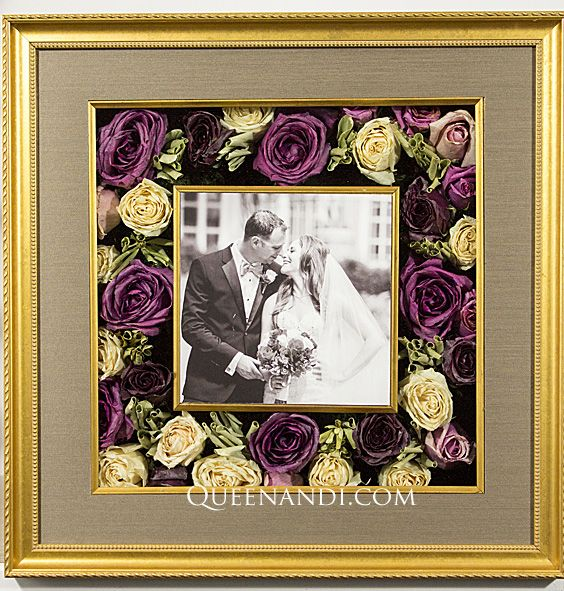Transform your wedding flowers into a lasting work of art! The Kaufman Wedding shadowbox showcases @larsonjuhl frame - Classic Gold, @NielsenBainbridge mat - Bonsia Brown (foreground). #queenandi #floralpreservation #weddingflowers