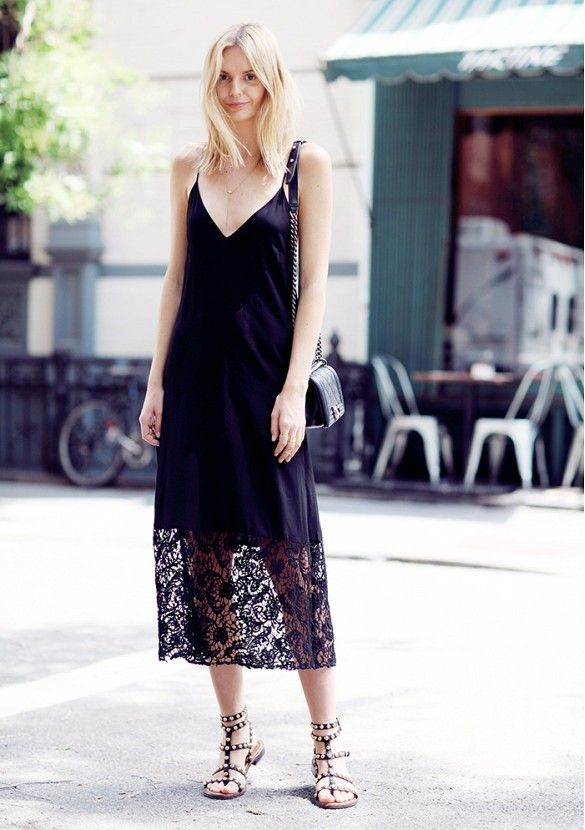 A lace slip dress and sandals is the perfect combination on how to look alluring while still letting your fashion flag fly. // #Fashion