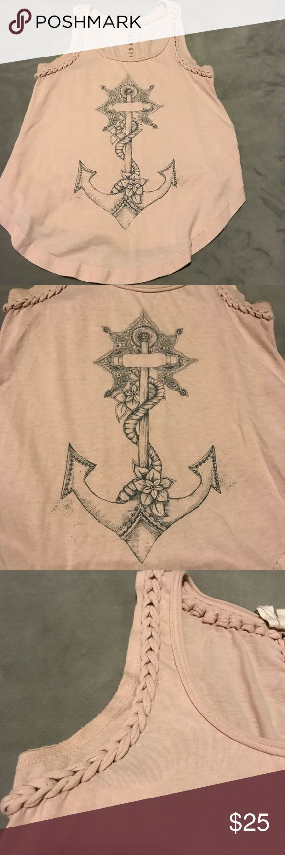 Free People Anchor Tank Free people anchor tank top light pink. Dark blue/grey detailing on the front. The top and back have braided detail that is really pretty! Free People Tops Tank Tops