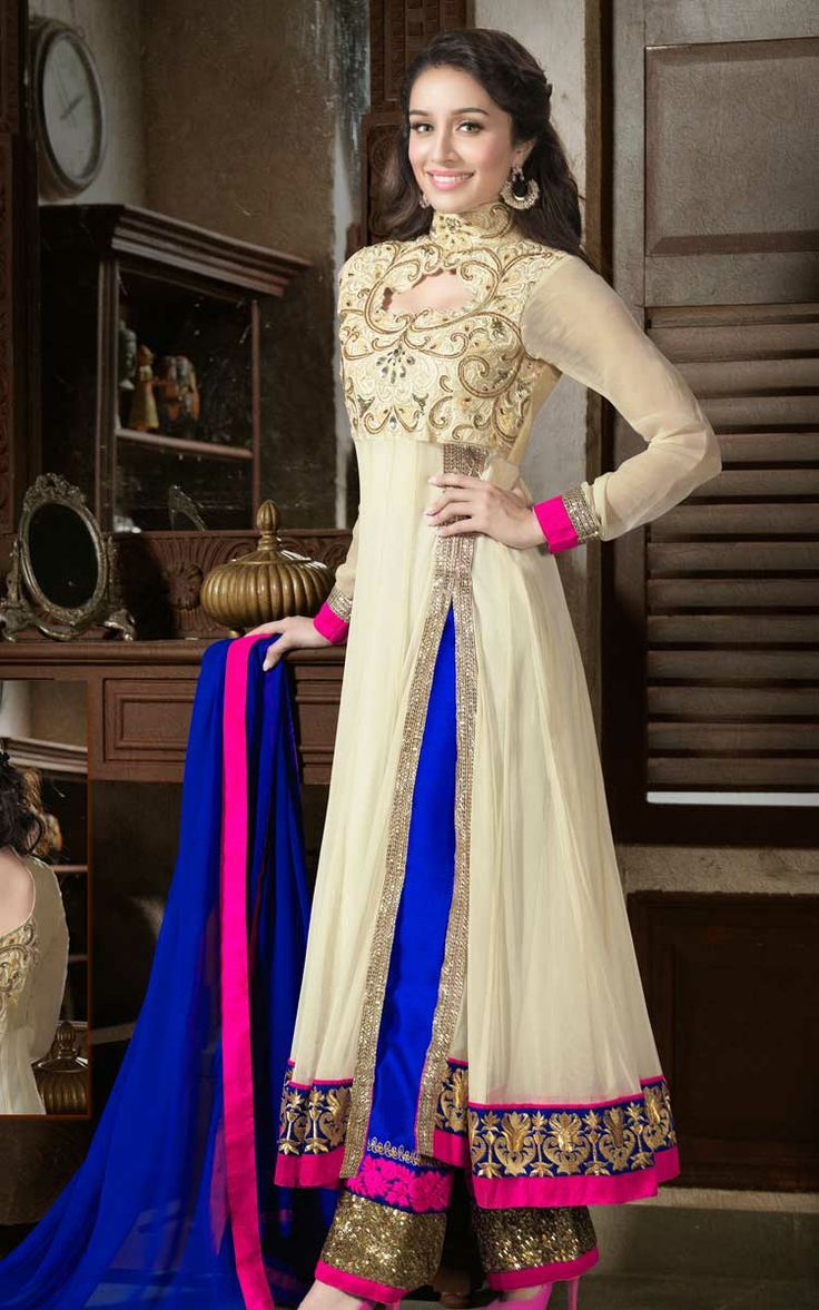 CREAM & BLUE GEORGETTE ANARKALI SALWAR KAMEEZ - ROU 1108
