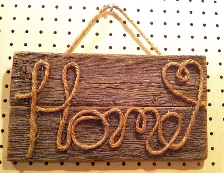 DIY rope sign on barn wood. First attempt at a rope sign proved a little more challenging than expected. Still have a whole roll of rope so this won't be the last project!