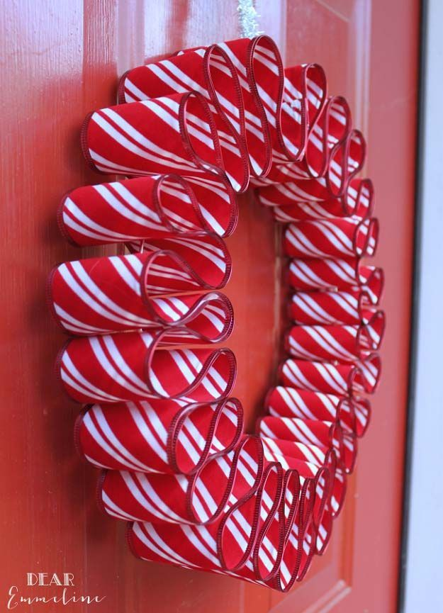 Awesome DIY Christmas Home Decorations and Homemade Holiday Decor Ideas - Quick and Easy Decorating ideas, cool ornaments, home decor crafts and fun Christmas stuff    Crafts and DIY projects by DIY Joy     Easy Ribbon Candy Wreath     http://diyjoy.com/diy-christmas-decor-holiday-decorations