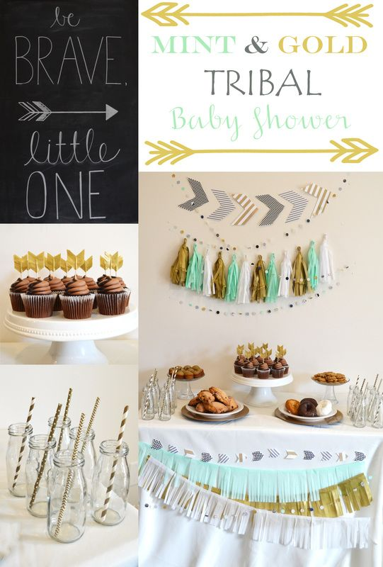 Tribal Baby Shower from The Reinvented Housewife! Mint gold white arrows baby boy party birthday paper straws chocolate cupcakes dessert buffet tissue tassel garland diy backdrop