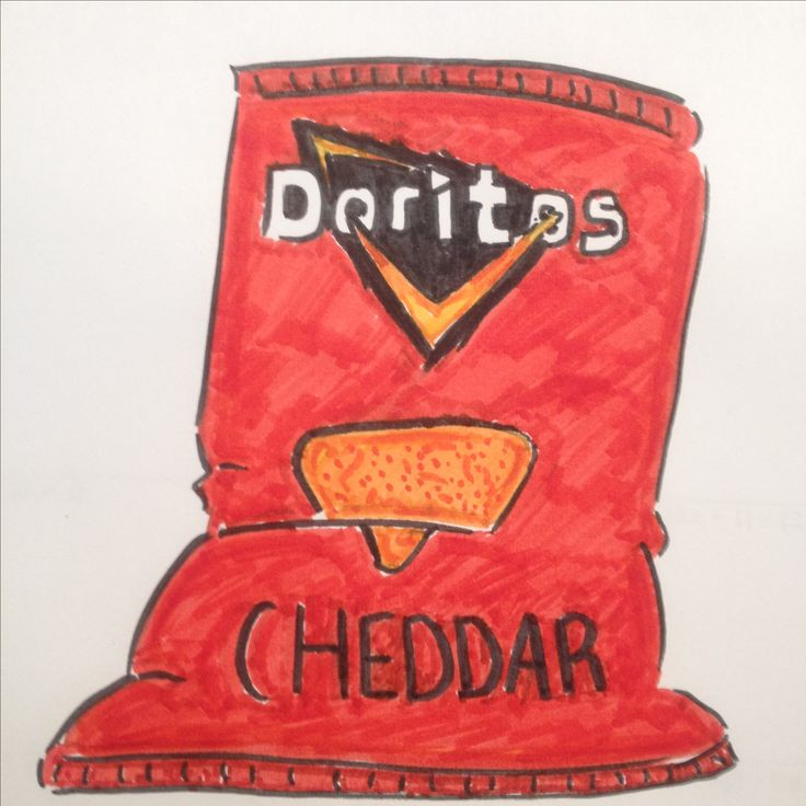 Doritos cheddar cheese chips bag drawing by Dhalie Fortin