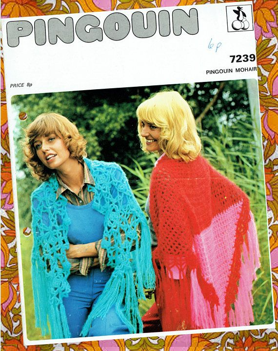 Original Vintage Womens Ladies Boho Shawl Crochet Pattern