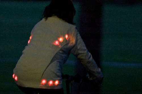 LilyPad #Arduino allows built-in safety lights for bicycle riders!
