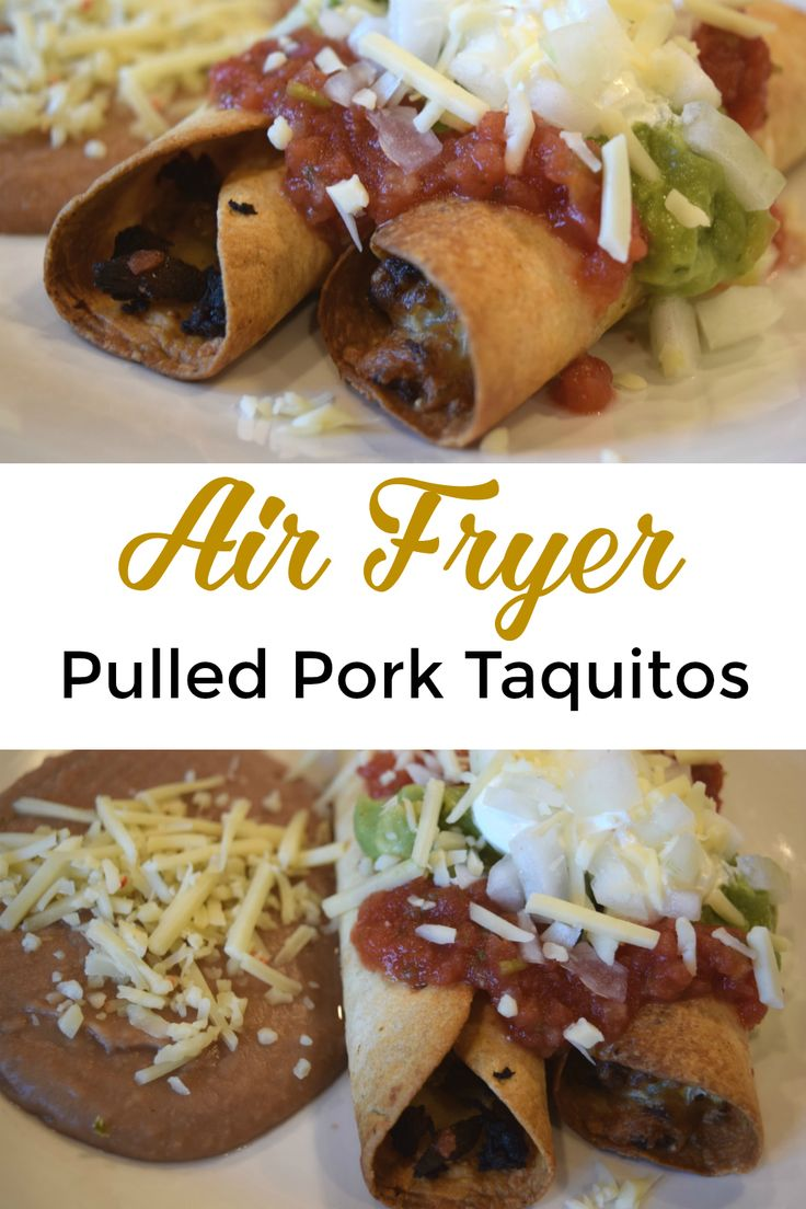 Air fryer pulled pork taquitos, aka flautas that can also