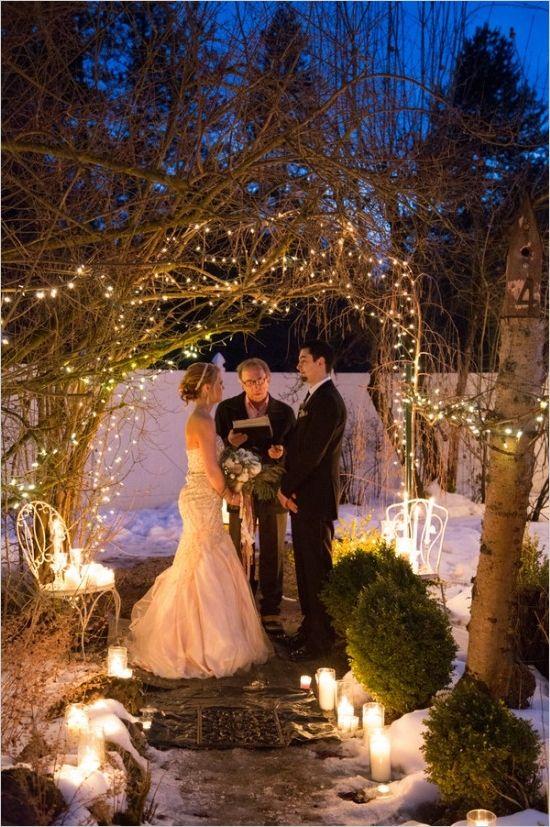 Evening wedding or vow renewal lighting ideas. Captured By: Romancing Belle Photography http://www.weddingchicks.com/2014/05/26/glamorous-vow-renewal-ceremony/