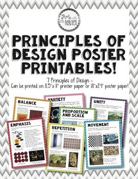 """Principles of Design Posters - Printable Package (8.5""""x11"""" and 18""""x24"""") Emphasis, Unity, Movement, Proportion/Scale, Balance, Repetition, Variety  There was a need for attractive Principles of Design posters - so here you go! :)  This package contains two .pdf files: 1. Printable posters in an 8.5""""x11"""" format (standard printer size) 2. Printable posters in an 18""""x24"""" format (larger poster size)"""