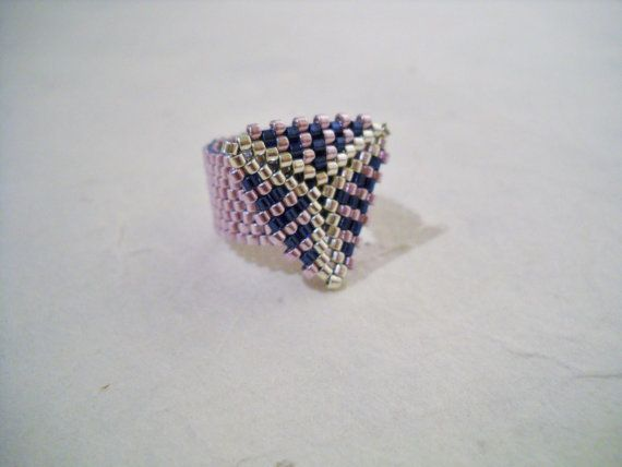 Purple Beaded Ring with Triangle Miyuki Delica Peyote by Seadbeady #SPSTeam #CYBER15