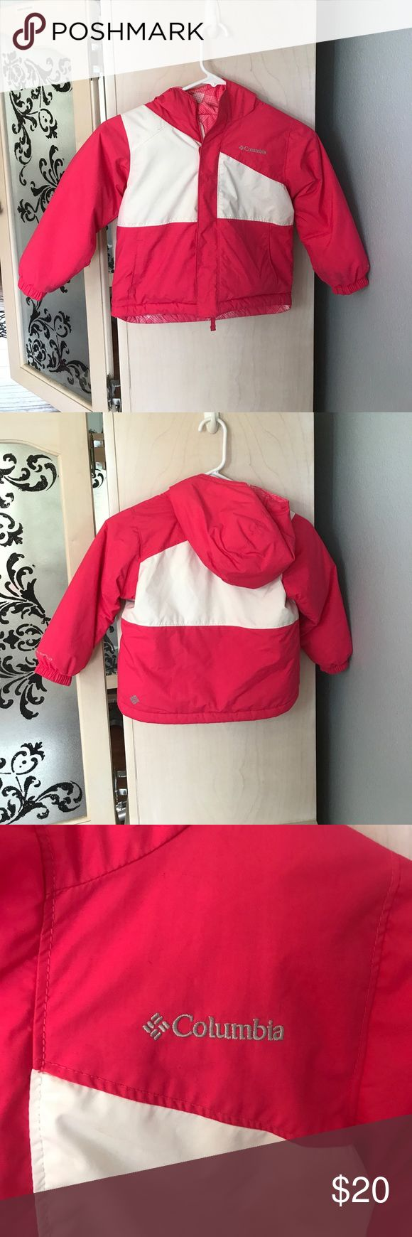 Reversible girls snow jacket by Columbia with hood Pink and white snow jacket. Reversible. Has pockets on both sides. Attached hood. Some discoloration on hood and on shoulder. May come out with laundering. Puffer, 4t but will fit a size 5 too. Columbia Jackets & Coats Puffers