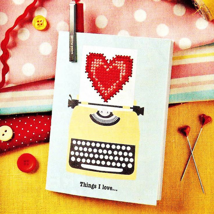 Retro stitched notebook - Available in CrossStitcher Magazine 277