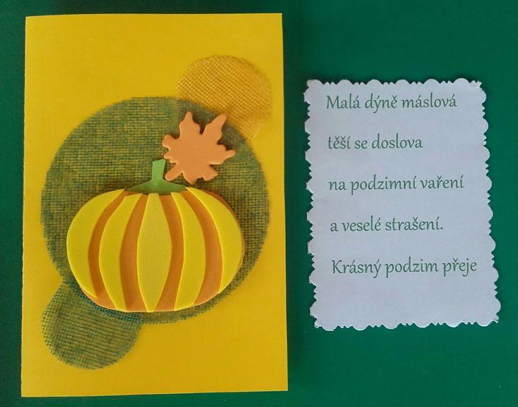 Podzimní přání, dýně z moosgumi. Básnička ode mne :)