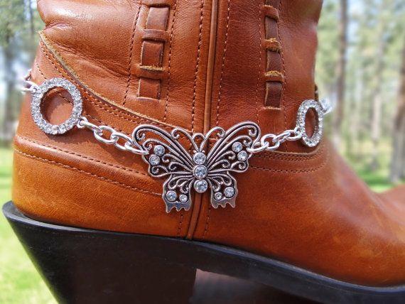 Silver Butterfly & rhinestone boot bracelet by BulletsBeadsBaubles