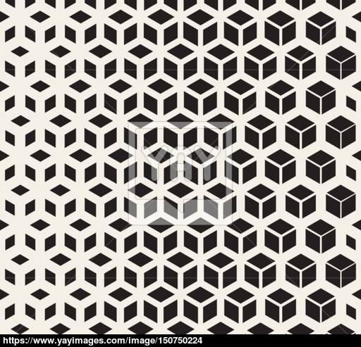 Vector Seamless Black And White  Geometric Cube Shape Lines Halftone Grid…