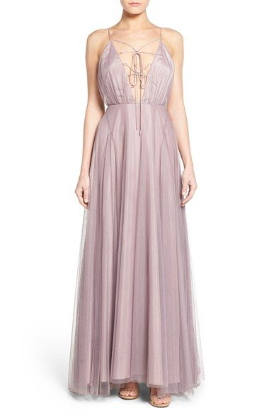 613e0f95e26 Topshop Lace-Up Tulle Maxi Dress available at  Nordstrom