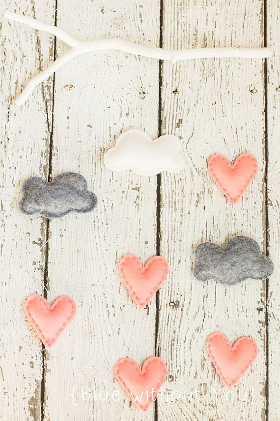 Simple Modern Baby Mobile Clouds and Heart by bluewithoutyoukids