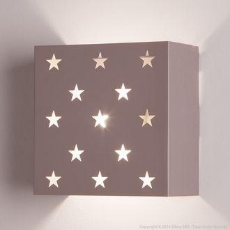 Applique murale carré en métal motif étoiles 20x10.5 cm Estrella en solde