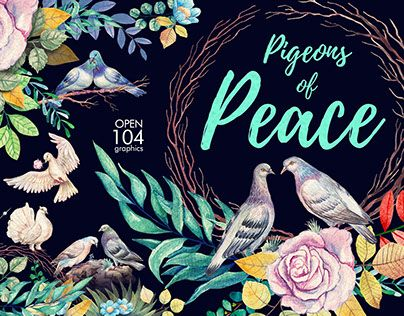 """Check out new work on my @Behance portfolio: """"Watercolor Pigeons of Peace"""" http://be.net/gallery/62139829/Watercolor-Pigeons-of-Peace"""