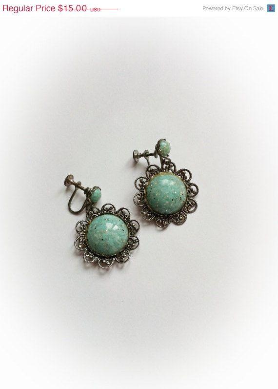 Vintage Earrings, screwback style