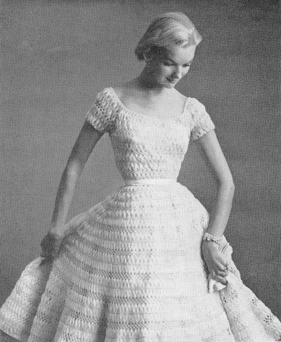 Vintage 50s Nomotta Fairy Tale Cinderella Silk Organdy Ribbon Hairpin Lace Wedding Dress Crochet Pattern Instant Download PDF