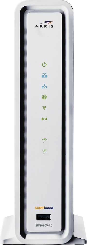 Arris - SURFboard AC1900 Dual-Band Router with Docsis 3.0 Cable Modem - White, SBG6900-AC
