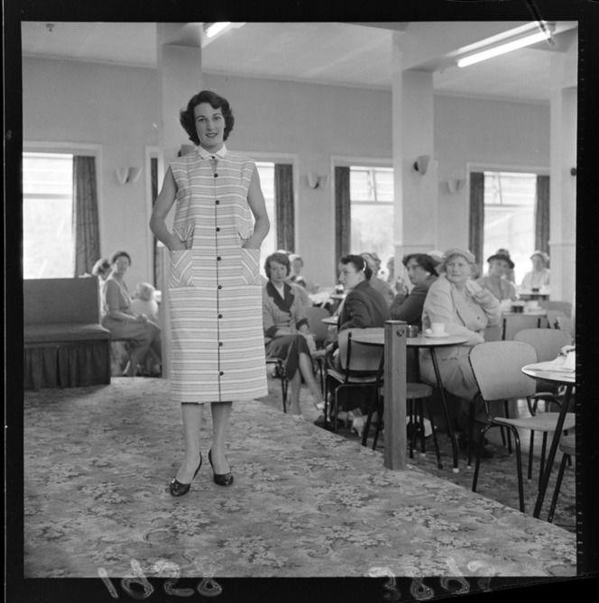 Unidentified woman modelling dress at fashion show for Brooklyn Plunket, 14 Nov 1958, Wellington