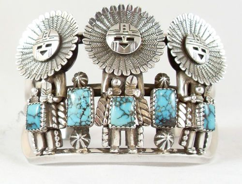 Cuff Bracelet Sun Face Kachina Sterling Amp Turquoise Toby