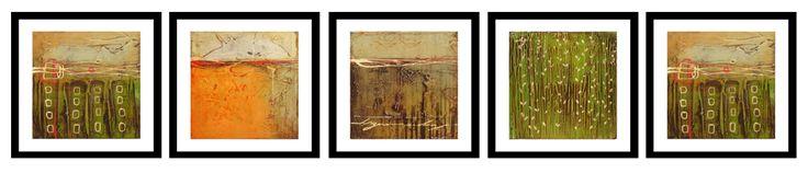 Recuerdos de Otoño Obra compuesta por 5 cuadros abstractos, en los que predomina el tema de los paisajes primaverales. medida de .20×.20 mts.