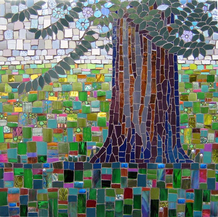 """""""Halcyon Days""""  Glass, stone and ceramic tile mosaic  24""""w x 24""""h  SOLD    ©Michael Sweere - All Rights Reserved"""